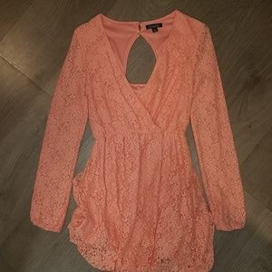 NWOT XS Pink Peach Lace Floral Long Sleeve Dress